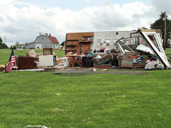 Destroyed trailer in Cameron