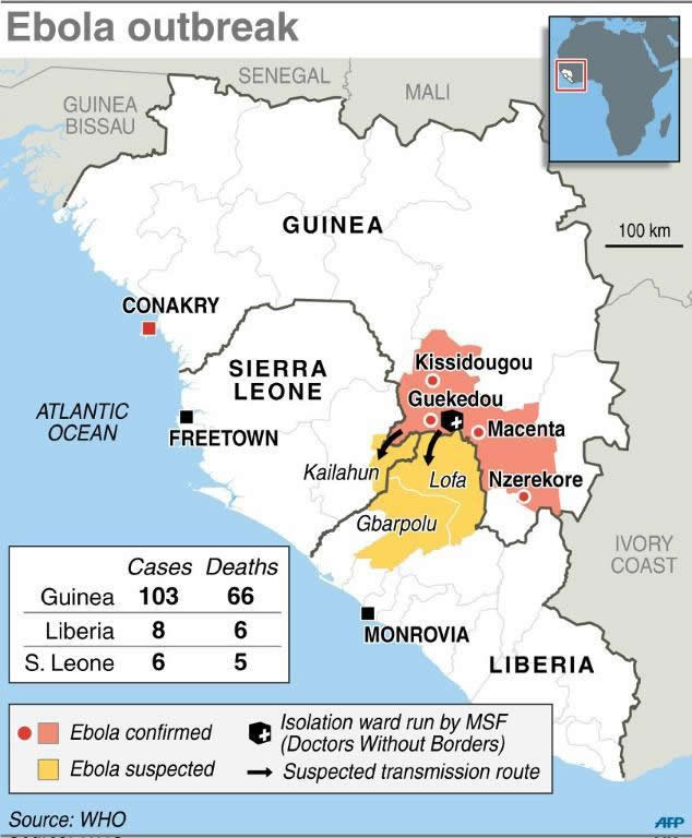 Map of Ebola Outbreak in West Africa