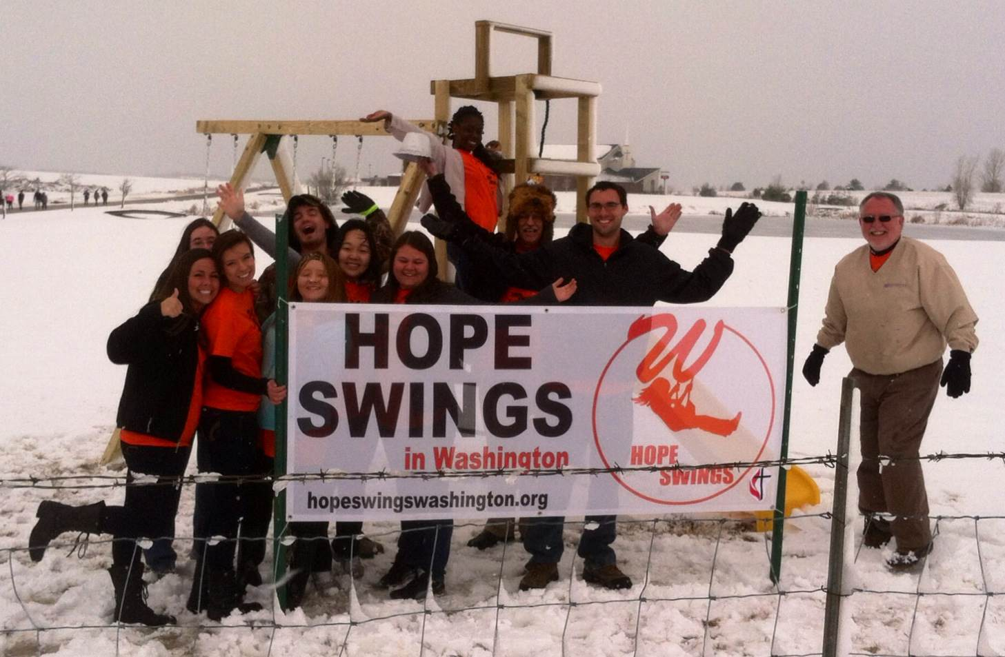 McKendree University students with a swing set prototype in Washington
