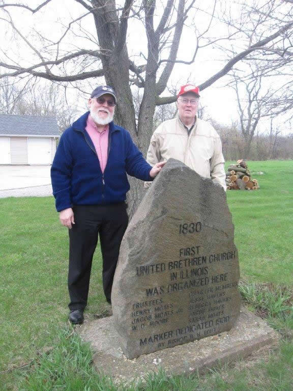 Moats' Marker near Towanda -- site of the first United Brethren Church in Illinois